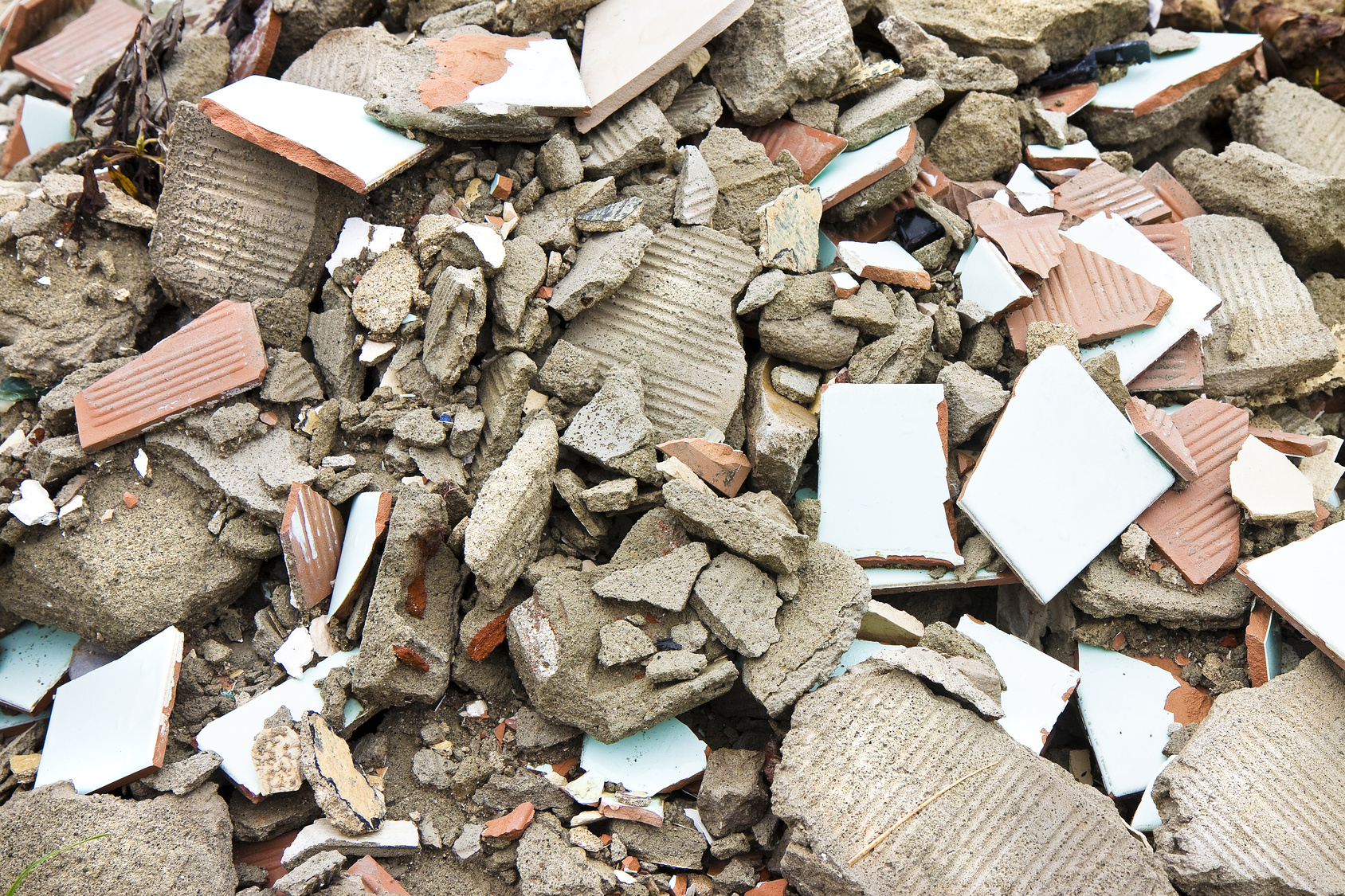 Debris after the demolition of a building